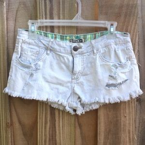 Roxy Denim Shorts Cut Off Distressed Pin Stripe